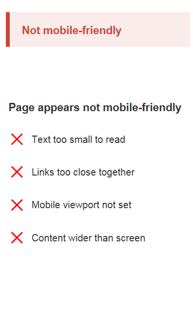 test result says: not mobile friendly